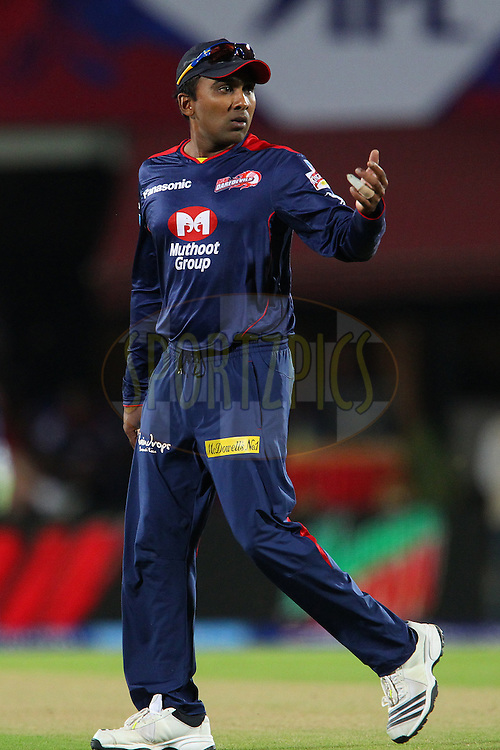 Mahela Jayawardene directs the field during match 67 of the Pepsi Indian Premier League between The Kings XI Punjab and the Delhi Daredevils held at the HPCA Stadium in Dharamsala, Himachal Pradesh, India on the on the 16th May 2013..Photo by Ron Gaunt-IPL-SPORTZPICS ..Use of this image is subject to the terms and conditions as outlined by the BCCI. These terms can be found by following this link:..http://www.sportzpics.co.za/image/I0000SoRagM2cIEc