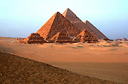 EGYPT, ANCIENT MONUMENTS Pyramids of Giza; left to right Mycerinus, Chephren (Khafre) and the Great Pyramid Cheops (Khufu)