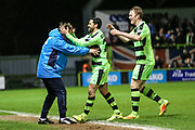Forest Green Rovers Fabien Robert(26) scores a goal 1-0 and celebrates with Forest Green Rovers assistant manager, Scott Lindsey during the Vanarama National League match between Forest Green Rovers and Solihull Moors at the New Lawn, Forest Green, United Kingdom on 21 March 2017. Photo by Shane Healey.