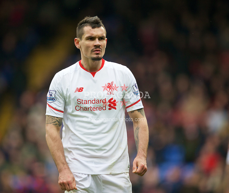 LONDON, ENGLAND - Sunday, March 6, 2016: Liverpool's Dejan Lovren in action against Crystal Palace during the Premier League match at Selhurst Park. (Pic by David Rawcliffe/Propaganda)