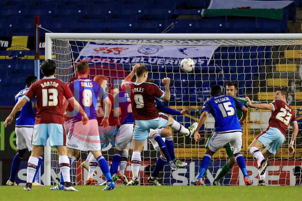Burnley's Sam Vokes fires a shot at goal  - Mandatory by-line: Matt McNulty/JMP - 05/04/2016 - FOOTBALL - Turf Moor - Burnley, England - Burnley v Cardiff City - SkyBet Championship
