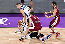 Klemen Prepelic of Slovenia and Goran Dragic of Slovenia vs Janis Strelnieks of Latvia during basketball match between National Teams of Slovenia and Latvia at Day 13 in Round of 16 of the FIBA EuroBasket 2017 at Sinan Erdem Dome in Istanbul, Turkey on September 12, 2017. Photo by Vid Ponikvar / Sportida