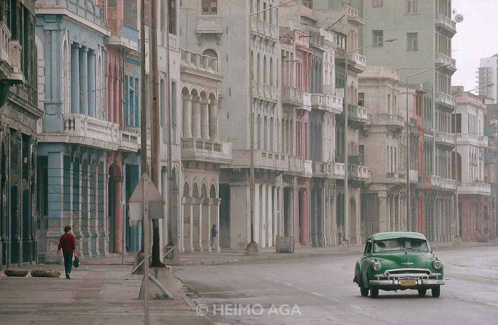 CUBA, HAVANA..Colonial style houses along the Malecon..(Photo by Heimo Aga)
