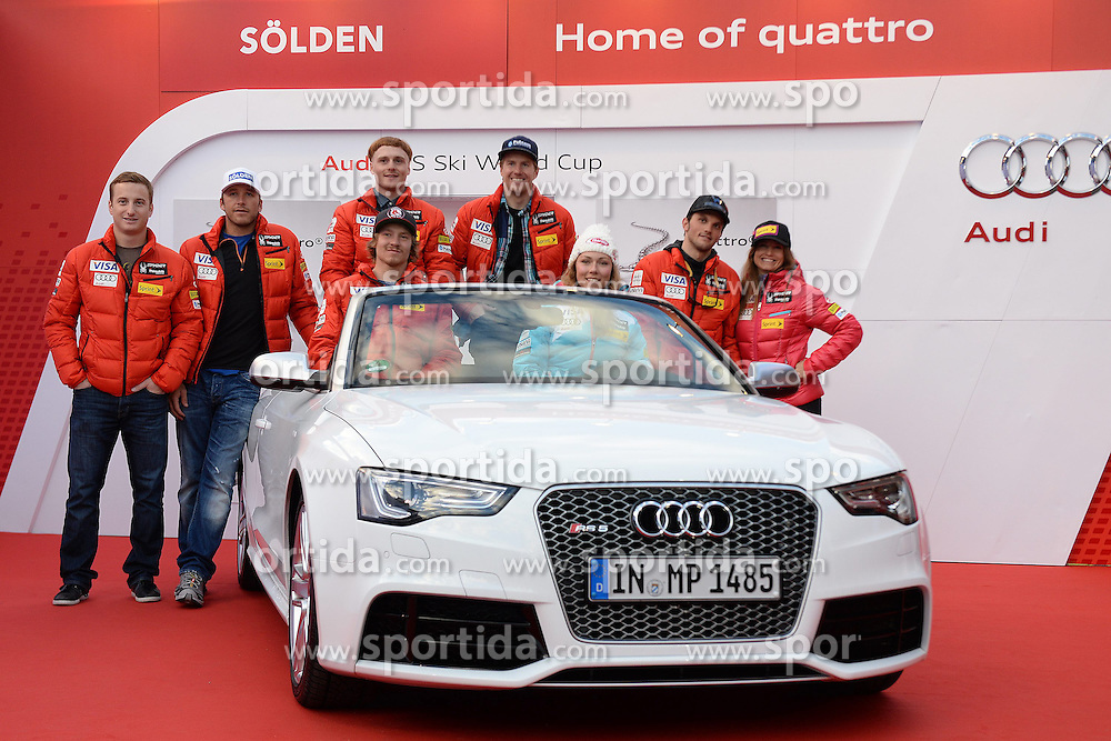 24.10.2013, Audi Lounge, Soelden, AUT, FIS Ski Alpin, Soelden, im Bild Team USA during the Audi press conference prior to the alpine skiing world cup opening race at the Audia Lounge, Soelden, Austria on 2013/10/22. EXPA Pictures © 2013, PhotoCredit: EXPA/ Mitchell Gunn<br /> <br /> *****ATTENTION - OUT of GBR*****