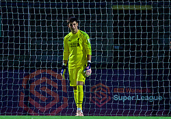 LONDON, ENGLAND - Friday, August 17, 2018: Liverpool's goalkeeper Kamil Grabara looks dejected after Arsenal score the second goal during the Under-23 FA Premier League 2 Division 1 match between Arsenal FC and Liverpool FC at Meadow Park. (Pic by David Rawcliffe/Propaganda)