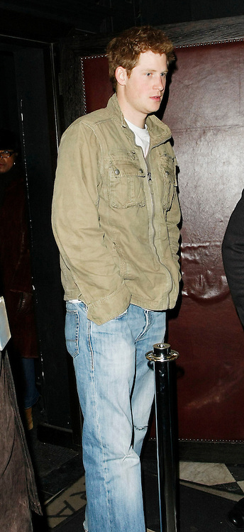 08.JANUARY.2010 - LONDON<br /> <br /> PRINCE HARRY PARTIES WITH FRIENDS AT HIS FAVOURITE NIGHT CLUB RAFFLES ON THE KINGS ROAD, CHELSEA. WHEN LEAVING AT 2:30AM LOOKING COOL BUT NOT ACCTUALY LOOKING WHERE HE WAS GOING THE PARTY PRINCE WALKED STRAIGHT INTO A POLE OUTSIDE THE CLUB NEARLY DAMAGING THE CROWN JEWELS.<br /> <br /> <br /> BYLINE: EDBIMAGEARCHIVE.COM<br /> <br /> *THIS IMAGE IS STRICTLY FOR UK NEWSPAPERS AND MAGAZINES ONLY FOR WORLD WIDE SALES AND WEB USE PLEASE CONTACT EDBIMAGEARCHIVE - 0208 954 5968