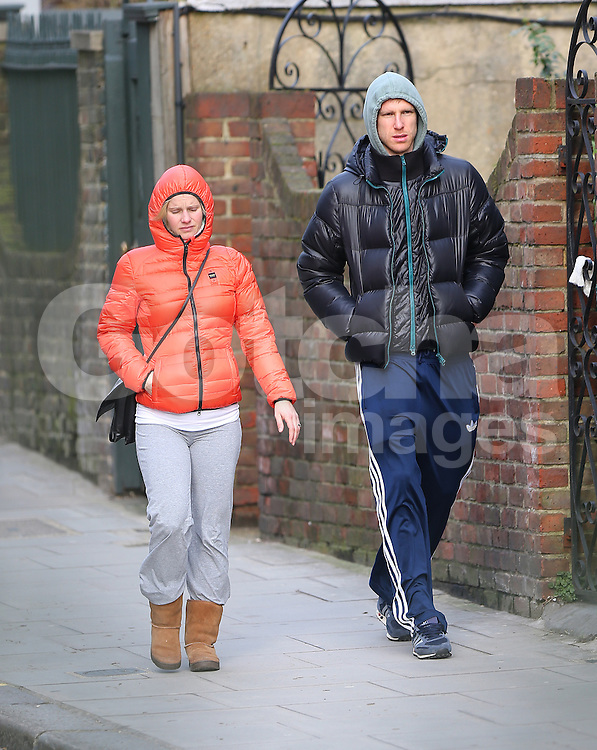 Germany and Arsenal defender Per Mertesacker out with his German international handballer wife Ulrike Stange in north London, UK. 03/02/2014<br />