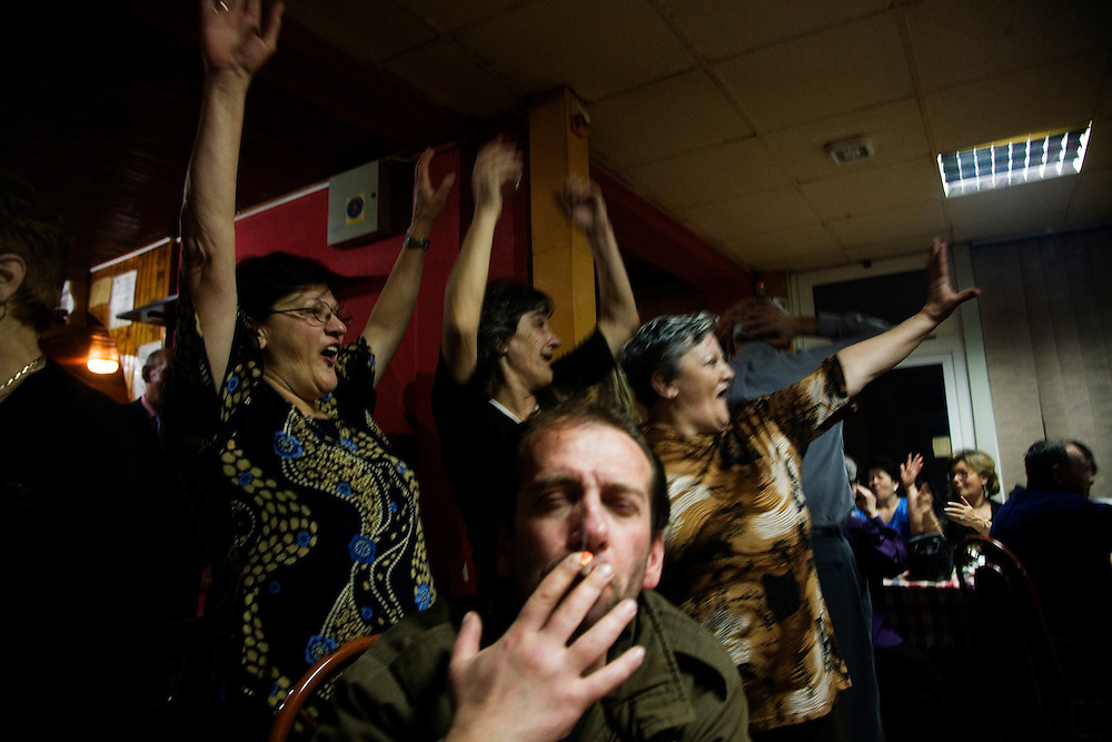 Celebrations at a Bosnian kafana on International Women's Day. Grbavica, Sarajevo.