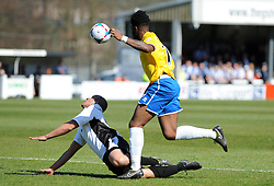 Bristol Rovers' Ellis Harrison challenges Dover Athletic's Tom Wynter - Photo mandatory by-line: Neil Brookman/JMP - Mobile: 07966 386802 - 18/04/2015 - SPORT - Football - Dover - Crabble Athletic Ground - Dover Athletic v Bristol Rovers - Vanarama Football Conference
