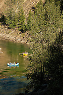 Rafters, families, floating, Middle Fork of Flathead River, southern border of Glacier National Park, Montana