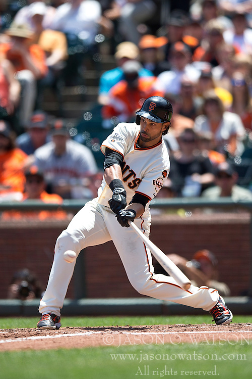 SAN FRANCISCO, CA - JULY 12:  Angel Pagan #16 of the San Francisco Giants at bat against the Philadelphia Phillies during the fifth inning at AT&T Park on July 12, 2015 in San Francisco, California.  The San Francisco Giants defeated the Philadelphia Phillies 4-2. (Photo by Jason O. Watson/Getty Images) *** Local Caption *** Angel Pagan