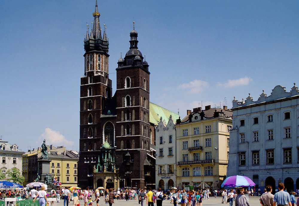 Saint Mary's Basilica  in Old Town Square, Krakow, Poland