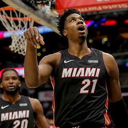 Dec 16, 2018; New Orleans, LA, USA; Miami Heat center Hassan Whiteside (21) reacts after scoring against the New Orleans Pelicans during the first half at the Smoothie King Center. Mandatory Credit: Derick E. Hingle-USA TODAY Sports