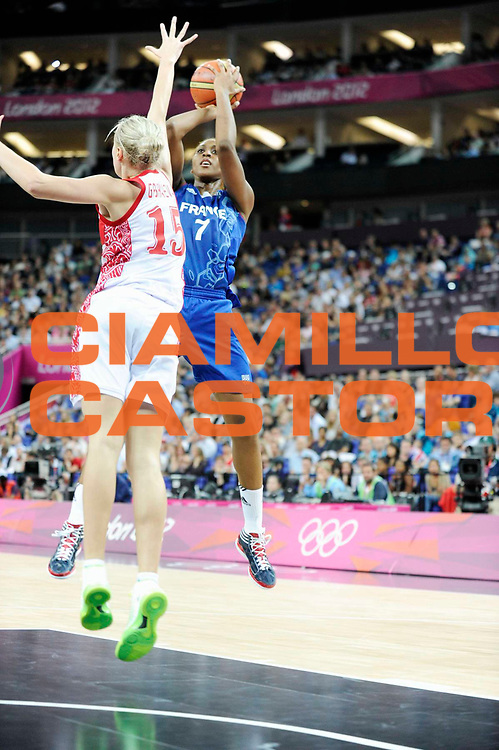 DESCRIZIONE : Basketball Jeux Olympiques Londres Demi finale<br /> GIOCATORE : Gruda Sandrine<br /> SQUADRA : France  FEMME<br /> EVENTO : Jeux Olympiques<br /> GARA : France Russie<br /> DATA : 09 08 2012<br /> CATEGORIA : Basketball Jeux Olympiques<br /> SPORT : Basketball<br /> AUTORE : JF Molliere <br /> Galleria : France JEUX OLYMPIQUES 2012 Action<br /> Fotonotizia : Jeux Olympiques Londres demi Finale Greenwich Northwest Arena<br /> Predefinita :