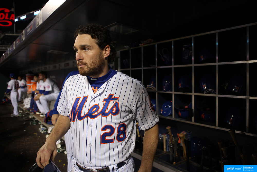 Daniel Murphy, New York Mets, preparing to bat in the dugout during the New York Mets Vs Atlanta Braves MLB regular season baseball game at Citi Field, Queens, New York. USA. 22nd September 2015. Photo Tim Clayton