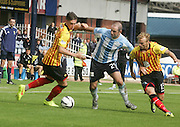 Dundee's Gary Harkins takes on Partick Thistle's Dale Keenan and Kallum Higginbotham - Dundee v Partick Thistle, SPFL Premiership at Dens Park<br /> <br />  - &copy; David Young - www.davidyoungphoto.co.uk - email: davidyoungphoto@gmail.com