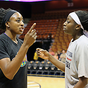 Sisters Chiney Ogwumike, (right), Connecticut Sun and Nneka Ogwumike, Los Angeles Sparks during a media interview before playing against each other for the fist time in the WNBA during the Connecticut Sun Vs Los Angeles Sparks WNBA regular season game at Mohegan Sun Arena, Uncasville, Connecticut, USA. 3rd July 2014. Photo Tim Clayton