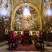 MEXICO CITY, MEXICO --The oldest and one of the most ornate sections of the Metroplitan Cathedra--the Sacristy. Built in stages from 1573 to 1813, the Mexico City Metropolitan Cathedral is the largest Roman Catholic cathedral in the Americas. It sits in the heart of the historic quarter of Mexico City along one side of the the Zocalo.