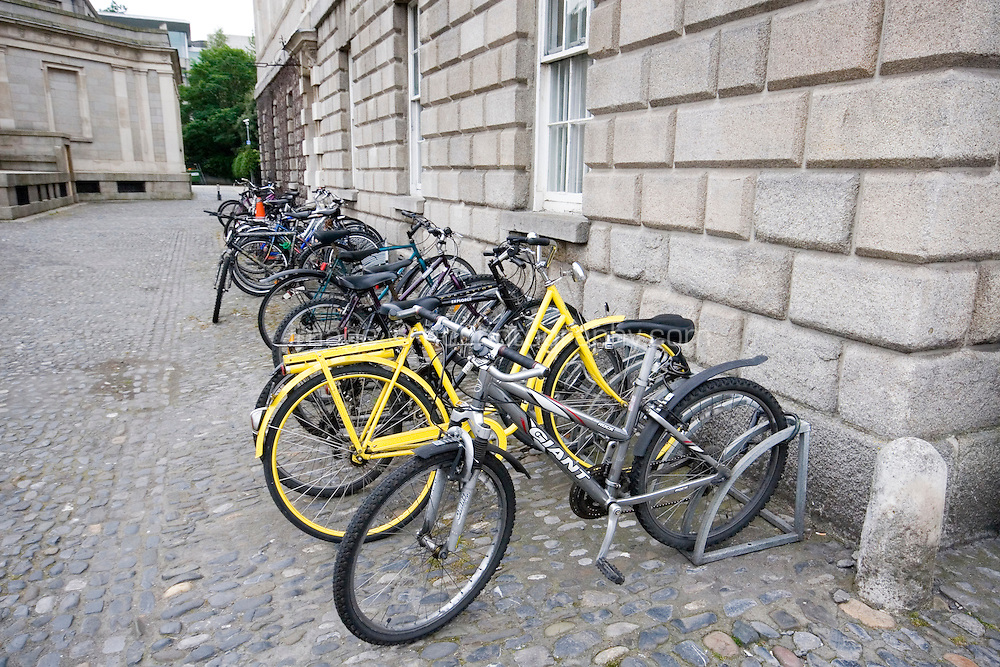 Student's bicycles parked at Trinity College Dublin Ireland