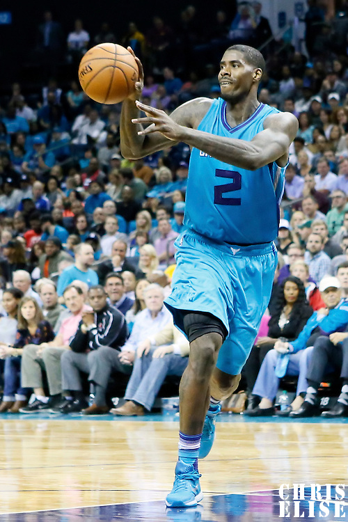 01 November 2015: Charlotte Hornets forward Marvin Williams (2) passes the ball during the Atlanta Hawks 94-92 victory over the Charlotte Hornets, at the Time Warner Cable Arena, in Charlotte, North Carolina, USA.