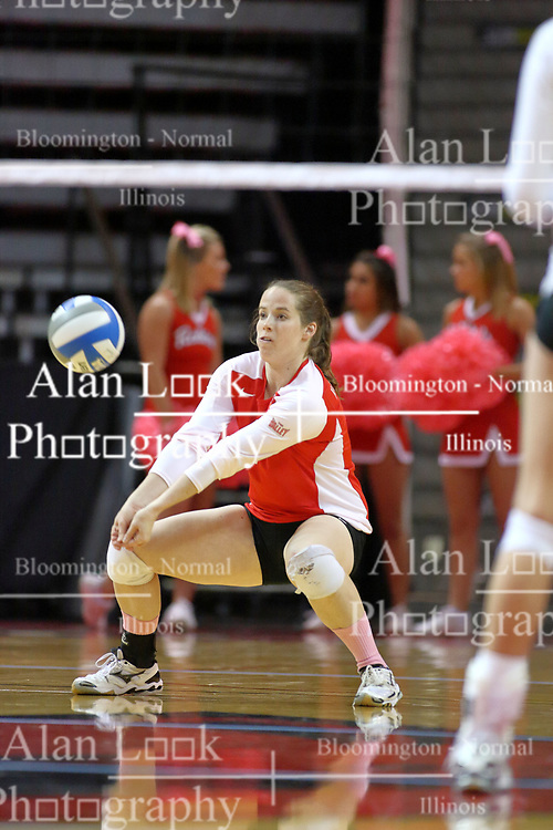 29 October 2011: Laura Wakefield crouches for a dig During a match between the Creighton Bluejays and the Illinois State Redbirds at Redbird Arena in Normal Illinois