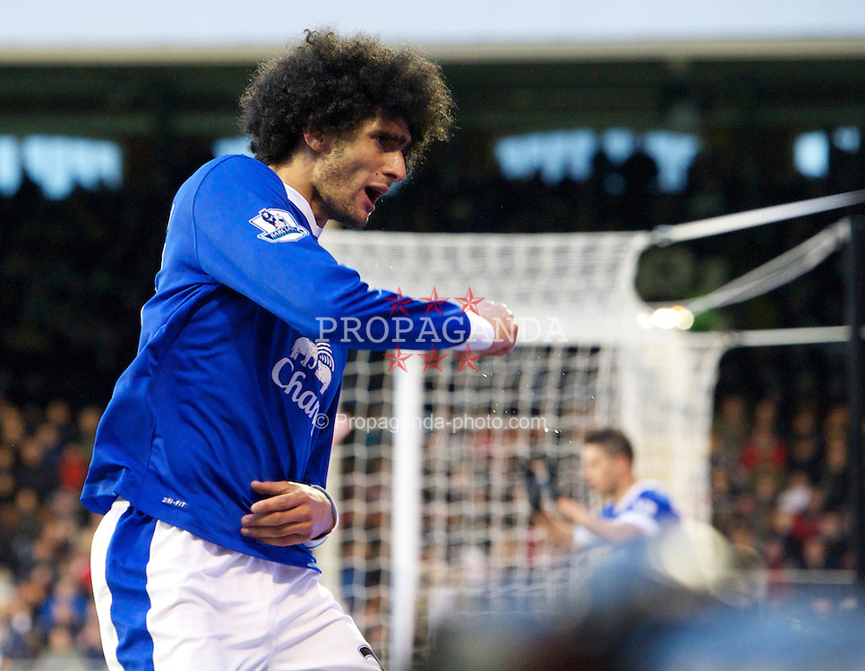 LONDON, ENGLAND - Saturday, November 3, 2012: Everton's Marouane Fellaini celebrates scoring the first goal against Fulham during the Premiership match at Craven Cottage. (Pic by David Rawcliffe/Propaganda)