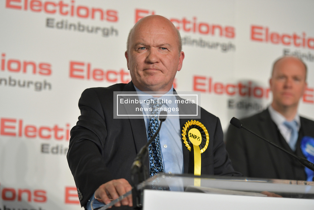 SCOTTISH PARLIAMENTARY ELECTION 2016 –Gordon MacDonald, Scottish National Party (SNP)winning the Peatlands area vote at the Scottish Parliament Elections, at the Royal Highland Centre, Edinburgh for the counting of votes and declaration of results.<br />(c) Brian Anderson | Edinburgh Elite media