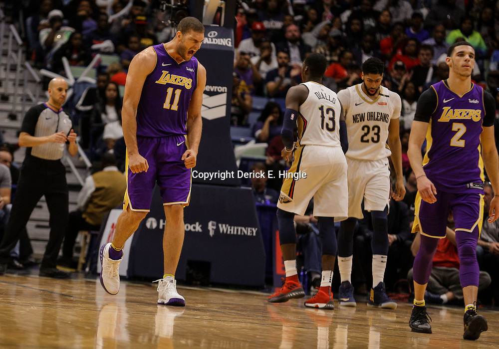 Mar 22, 2018; New Orleans, LA, USA; Los Angeles Lakers center Brook Lopez (11) reacts after a turnover to the New Orleans Pelicans during the second half at the Smoothie King Center. The Pelicans defeated the Lakers 128-125. Mandatory Credit: Derick E. Hingle-USA TODAY Sports