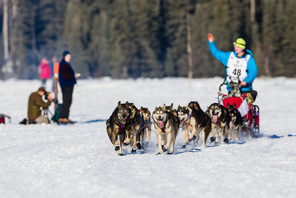 Musher Travis Beals competing in the 42nd Iditarod Trail Sled Dog Race on Long Lake after leaving the restart on Willow Lake in Southcentral Alaska.  Afternoon. Winter.