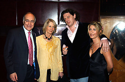 Left to right, MICHAEL & SANDRA HOWARD and MARCO PIERRE WHITE and his wife MATI at a fund raising dinner hosted by Marco Pierre White and Frankie Dettori's in aid of Conservative Party's General Election Campaign Fund held at Frankie's No.3 Yeoman's Row,¾London SW3 on 17th January 2005.<br />