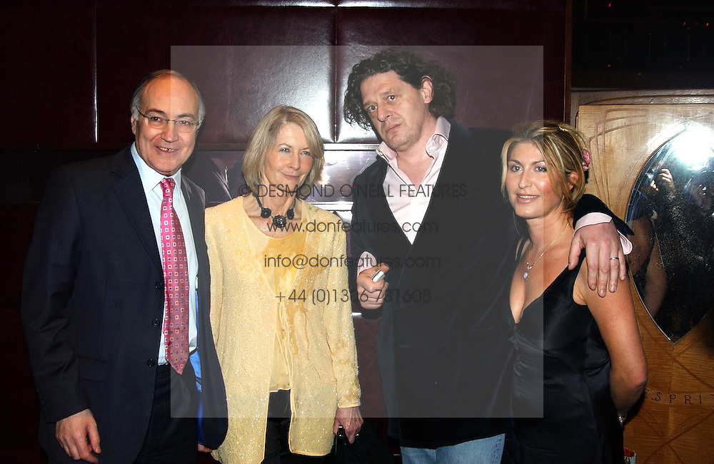 Left to right, MICHAEL & SANDRA HOWARD and MARCO PIERRE WHITE and his wife MATI at a fund raising dinner hosted by Marco Pierre White and Frankie Dettori's in aid of Conservative Party's General Election Campaign Fund held at Frankie's No.3 Yeoman's Row,¾London SW3 on 17th January 2005.<br /><br />NON EXCLUSIVE - WORLD RIGHTS