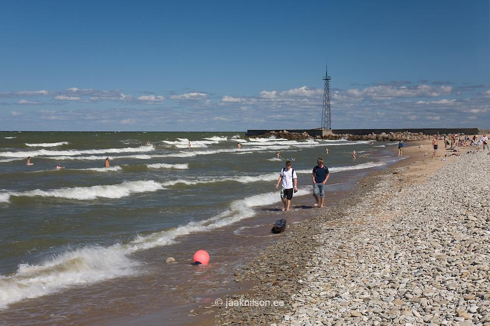 People Walking on Toila Beach  by Baltic Sea in Ida-Viru County, Estonia