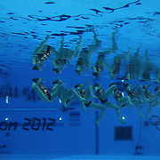 The team from Russia competes during the Synchronized Swimming team technical routine at the Aquatics Centre, Olympic Park, during the London 2012 Olympic games. London, UK. 9th August 2012. Photo Tim Clayton