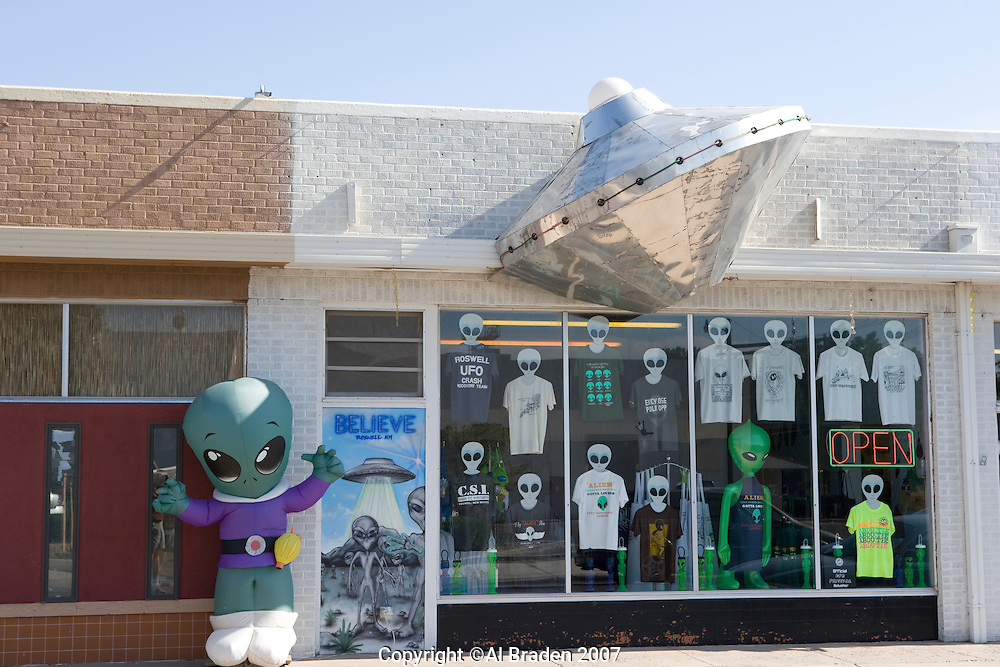 Alien exhibit at UFO Museum, Roswell, New Mexico.