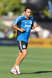 July 20, 2011; Santa Clara, CA, USA;  San Jose Earthquakes midfielder Ramiro Corrales (12) warms up before the game against the Vancouver Whitecaps at Buck Shaw Stadium. San Jose tied Vancouver 2-2.