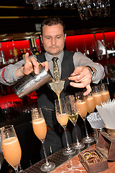 Drink preparation at the Quaglino's Q Legends Summer Launch Party hosted by Henry Conway at Quaglino's, 16 Bury Street, London England. 18 July 2017.