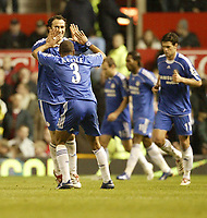 Photo: Aidan Ellis.<br /> Manchester United v Chelsea. The Barclays Premiership. 26/11/2006.<br /> Chelsea's Ashley Cole congratulates Ricardo Carvallho after his equaliser