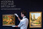 Sir Winston Churchill, The Goldfish Pool at Chartwell, circa 1962 (est. £50,000-80,000 his last painting) and Landscape with Two Trees, 1922 (est. £100,000-150,000) - Modern and Post-War British & Scottish Art at Sothebys New Bond Street. The sale will take place between 21 – 22 November.