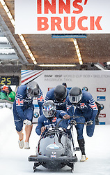 17.12.2017, Olympia Eisbahn, Igls, AUT, BMW IBSF Weltcup und EM, Igls, Viererbob, 1. Lauf, im Bild Lamin Deen, Ben Simons, Bruce Tasker, Joel Fearon (GBR) // Pilot Lamin Deen with Ben Simons with Bruce Tasker Joel Fearon of Great Britain during 1st run of four-man Bobsleigh competition of BMW IBSF World Cup and European Championship at the Olympia Eisbahn in Igls, Austria on 2017/12/17. EXPA Pictures © 2017, PhotoCredit: EXPA/ Johann Groder