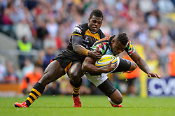 Harlequins Winger (#11) Ugo Monye is tackled by Wasps Winger (#14) Christian Wade  during the first half of the match - Photo mandatory by-line: Rogan Thomson/JMP - Tel: Mobile: 07966 386802 07/09/2013 - SPORT - RUGBY UNION - Twickenham Stadium - London Wasps v Harlequins - Aviva Premiership - London Double Header.
