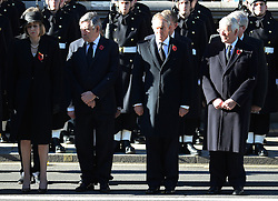 L TO R <br /> Home Secretary  Theresa May, Former Prime Minister's Gordon Brown,Tony Blair and John Major at the annual Remembrance Sunday Service at the Cenotaph, Whitehall, London, England. Sunday, 10th November 2013. Picture by Andrew Parsons / i-Images