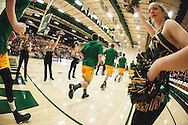 Vermont runs onto the court for warm ups before the start of the men's basketball game between the Binghamton Bearcats and the Vermont Catamounts at Patrick Gym on Monday night January 19, 2015 in Burlington, Vermont. (BRIAN JENKINS, for the Free Press)