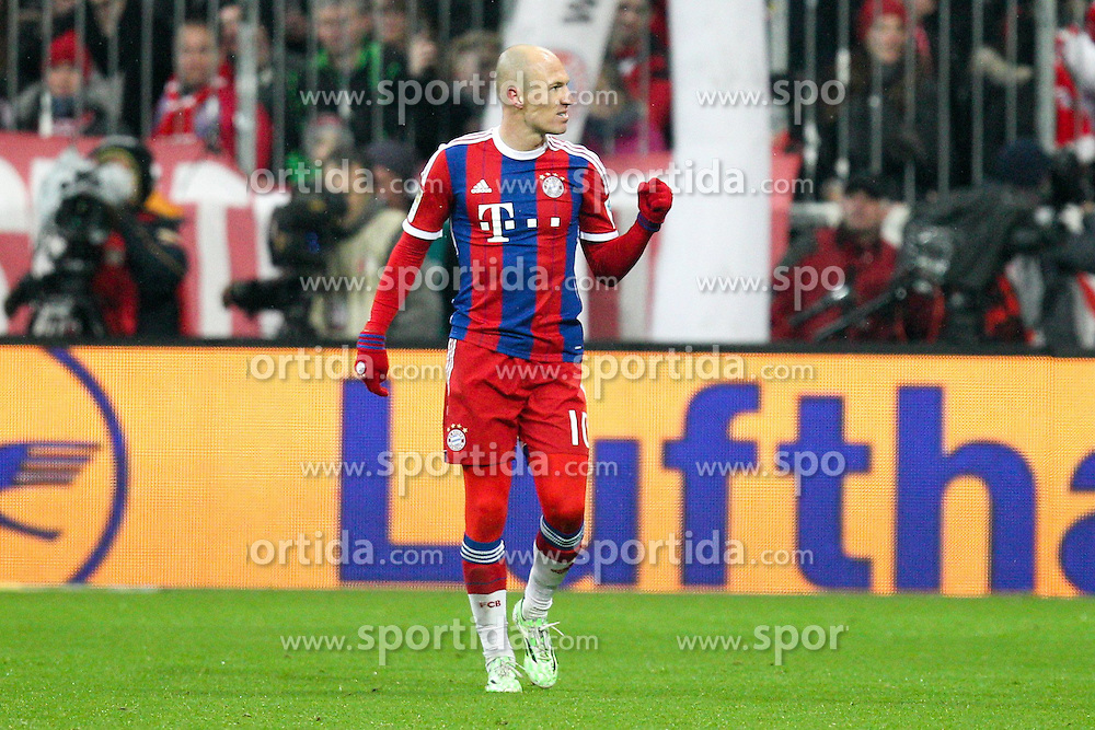 27.02.2015, Allianz Arena, Muenchen, GER, 1. FBL, FC Bayern Muenchen vs 1. FC K&ouml;ln, 23. Runde, im Bild Torjubel von Arjen Robben #10 (FC Bayern Muenchen) // during the German Bundesliga 23rd round match between FC Bayern Munich and 1. FC K&ouml;ln at the Allianz Arena in Muenchen, Germany on 2015/02/27. EXPA Pictures &copy; 2015, PhotoCredit: EXPA/ Eibner-Pressefoto/ EXPA/ Kolbert<br /> <br /> *****ATTENTION - OUT of GER*****