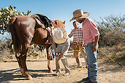 Mexican cowboys repair a horseshoe at a rest stop as they ride to join the annual Cabalgata de Cristo Rey cowboy pilgrimage January 4, 2017 in Guanajuato, Mexico. Thousands of Mexican cowboys and horse take part in the three-day ride to the mountaintop shrine of Cristo Rey.