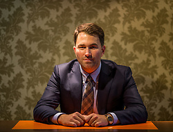 Boxing promoter Eddie Hearn poses after the press conference at Hilton Syon Park, London.