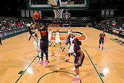 February 20, 2014: Brittney Sykes #20 of Syracuse rebounds over Suriya McGuire #33 of Miami during the NCAA basketball game between the Miami Hurricanes and the Syracuse Orange at the Bank United Center in Coral Gables, FL. The Orange defeated the Hurricanes 69-48.