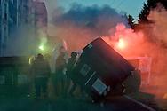Roma 14 Novembre 2014<br /> Manifestazione degli antifascisti  per protestare contro i fascisti di CasaPound e  Mario Borghezio europarlamentare della Lega Nord, che al Quartiere  Fidene manifestano contro gli immigrati. Manifestanti rovesciano i cassonetti in mezzo alla strada<br /> Rome November 14, 2014<br /> Demonstration of the anti-fascist protest against the fascists CasaPound and the Northern League MEP Mario Borghezio that the District Fidene  protest against immigrants. Protesters spill the bins in the street