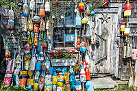 Buoys on a fishing village shack in Rockport, Massachusetts, U.S.A.