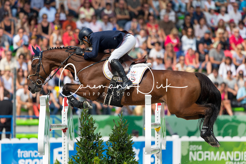 Carlos Lopez, (COL), Prince De La Mare - World Champions, - Second Round Team Competition - Alltech FEI World Equestrian Games™ 2014 - Normandy, France.<br /> © Hippo Foto Team - Leanjo De Koster<br /> 25/06/14