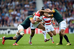 Male Sa'u of Japan takes on the South Africa defence - Mandatory byline: Patrick Khachfe/JMP - 07966 386802 - 19/09/2015 - RUGBY UNION - Brighton Community Stadium - Brighton, England - South Africa v Japan - Rugby World Cup 2015 Pool B.